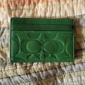 Brand new green coach slim card case